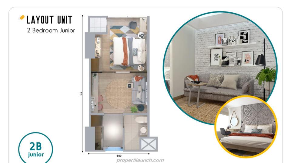 Layout Apartemen Skandinavia Alter Ego tipe 2 BR Junior