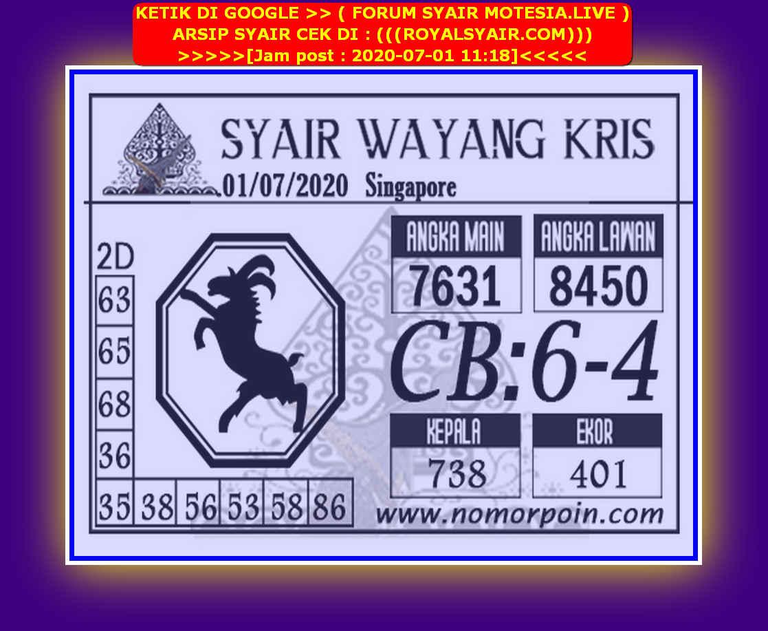 Kode syair Singapore Rabu 1 Juli 2020 165