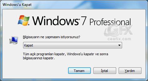Windows kapatma seçenekleri-www.ceofix.com