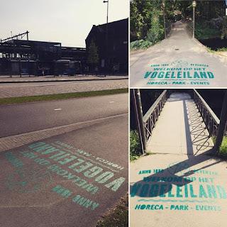 Straat logo's gespoten voor Vogeleiland Deventer
