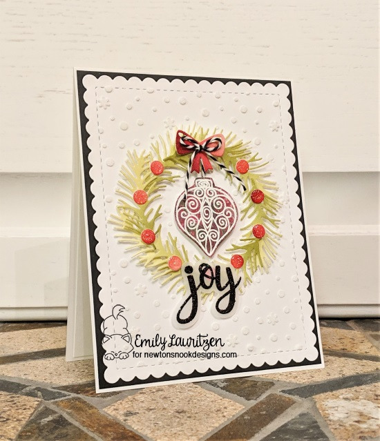 Joy by Emily features Flags & Frames, Pines & Holly, Beautiful Baubles, and Sentiments of the Season by Newtons Nook Designs; #newtonsnook