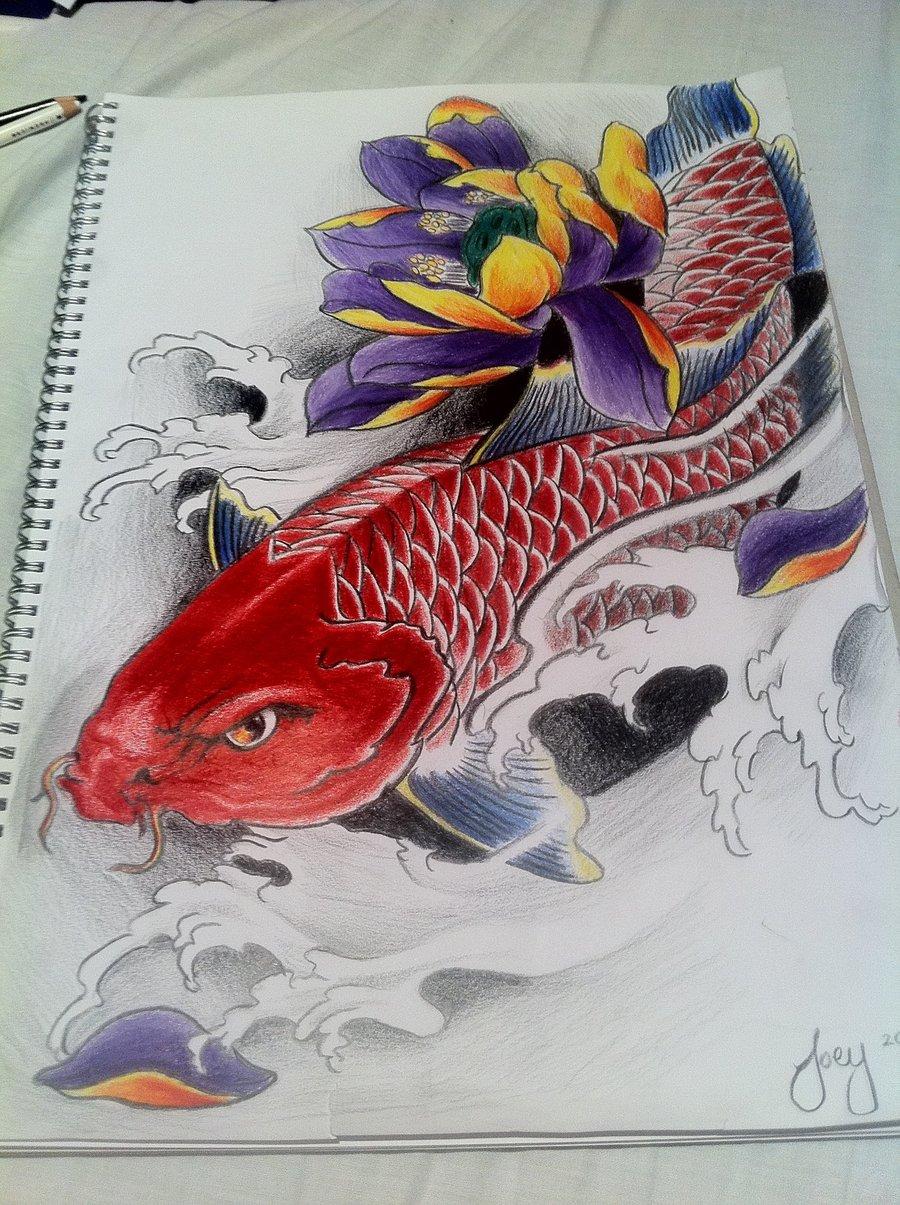Modele tatuaj traditional japonez for Red koi carp