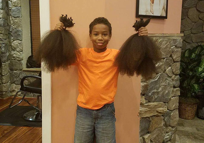 This 10-Year-Old Boy Spent 2 Years Growing His Hair To Make Wigs For Kids With Cancer - By the time he was finished, Thomas had enough hair to make not one, nor two, but three whole wigs!