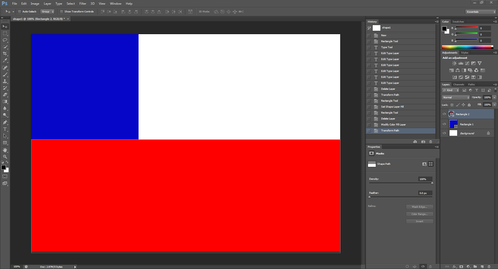 using the shape tool to create a red rectangle