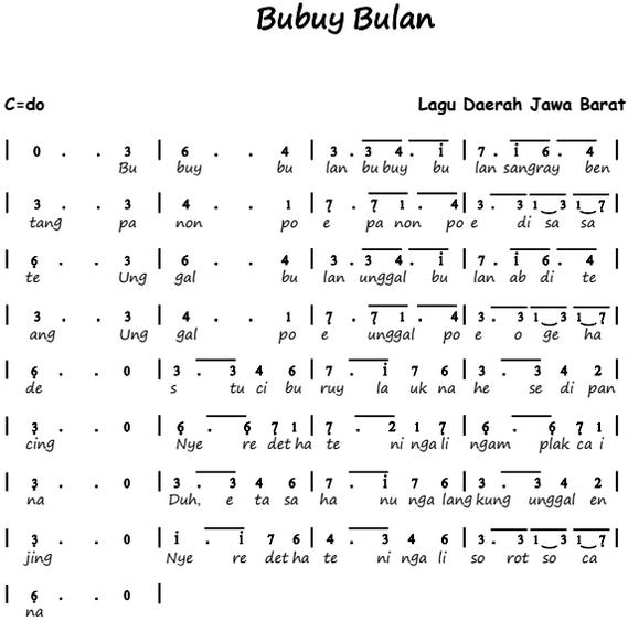 Not Angka Lagu Bubuy Bulan - Lagu Daerah