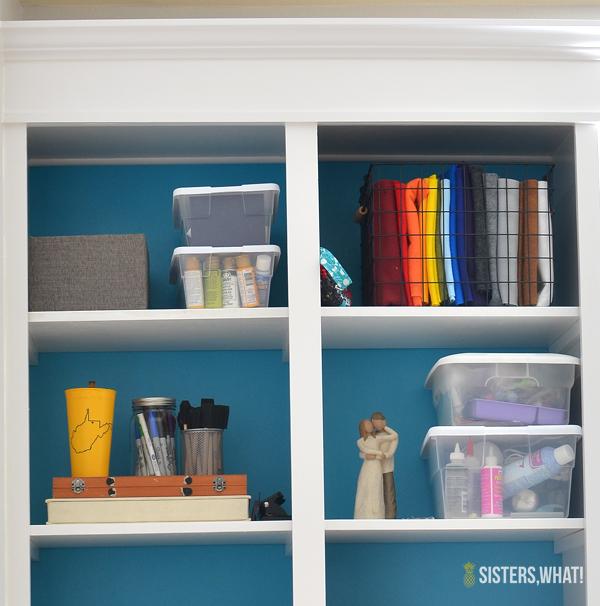 colorful built in bookshelves
