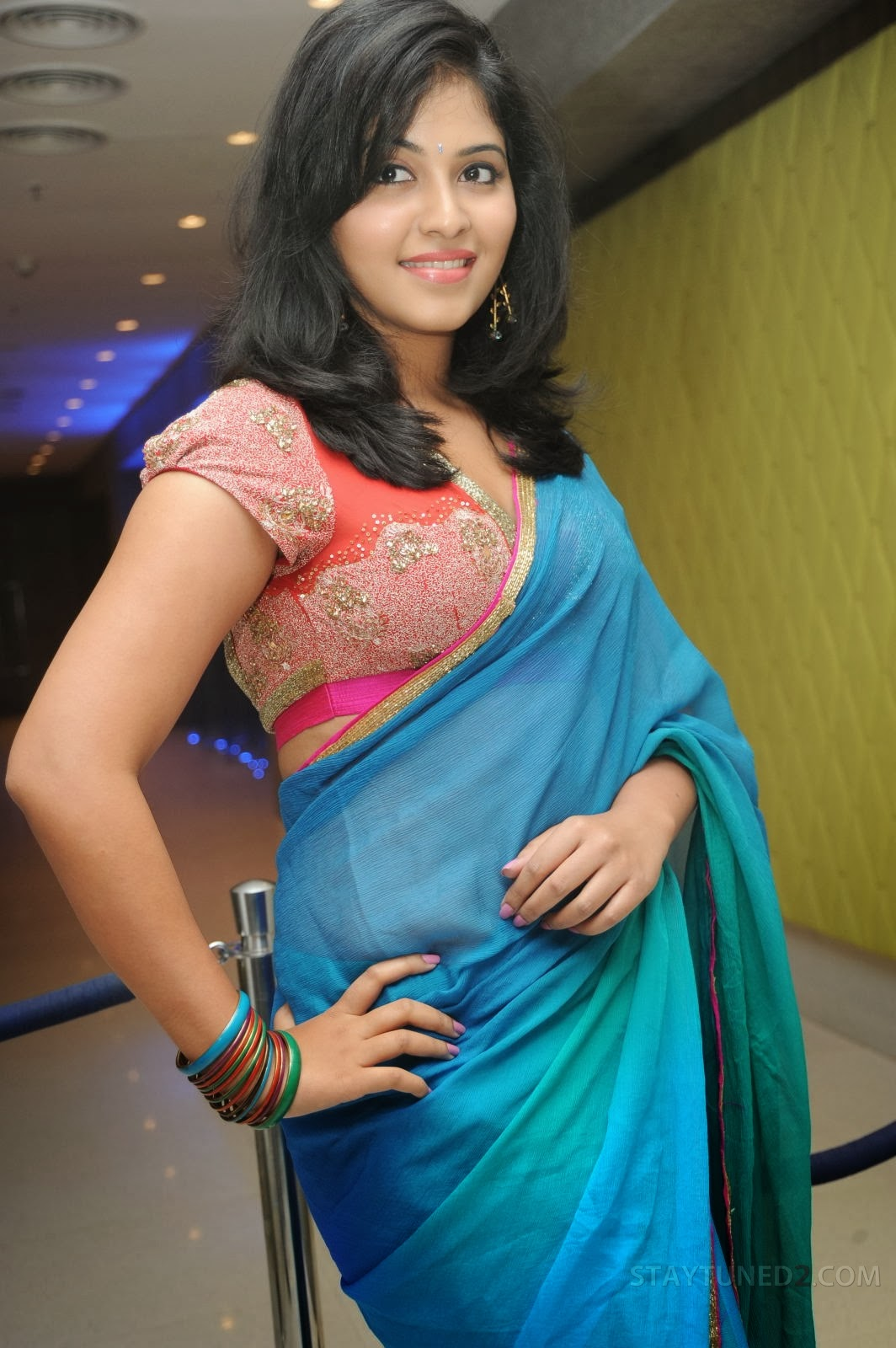 Anjali in saree at event