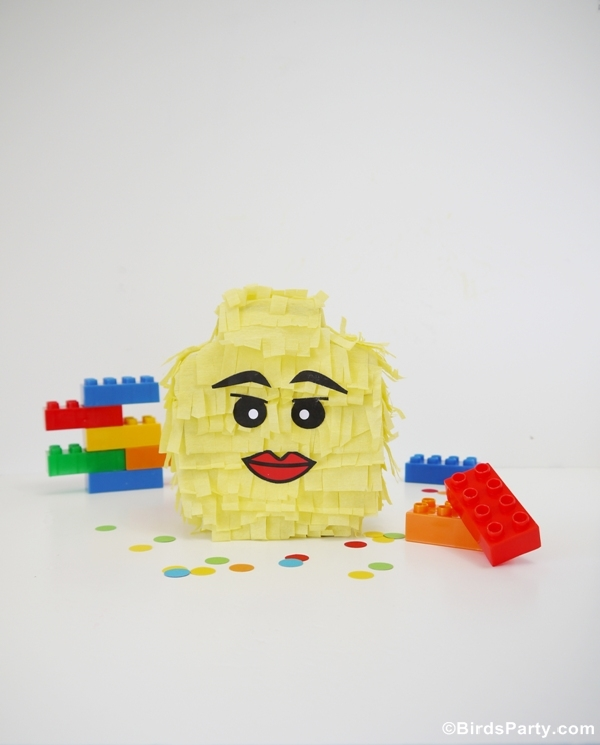 Lego Inspired Party : How To Make a Lego Head Pinata - BirdsParty.com