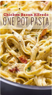 One Pot Chicken Bacon Alfredo Pasta