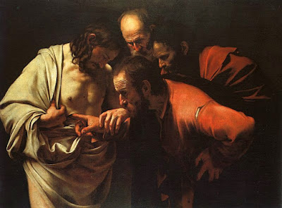 Renaissance painting, Thomas puts his hand into Jesus' wound