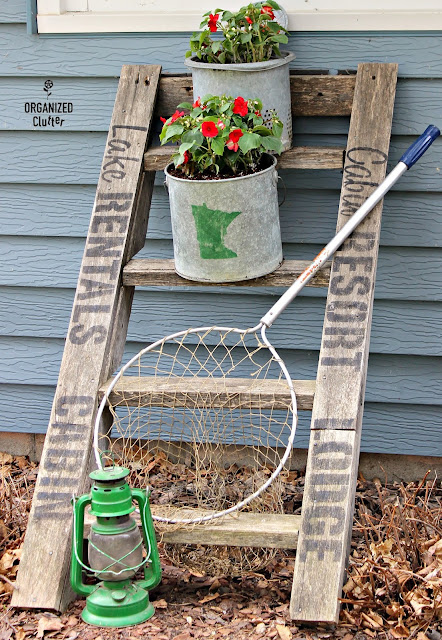 Weathered Ladder Cabin Themed Junk Garden Vignette #stencil #oldsignstencils #cabin #upnorth #vintage #fishing