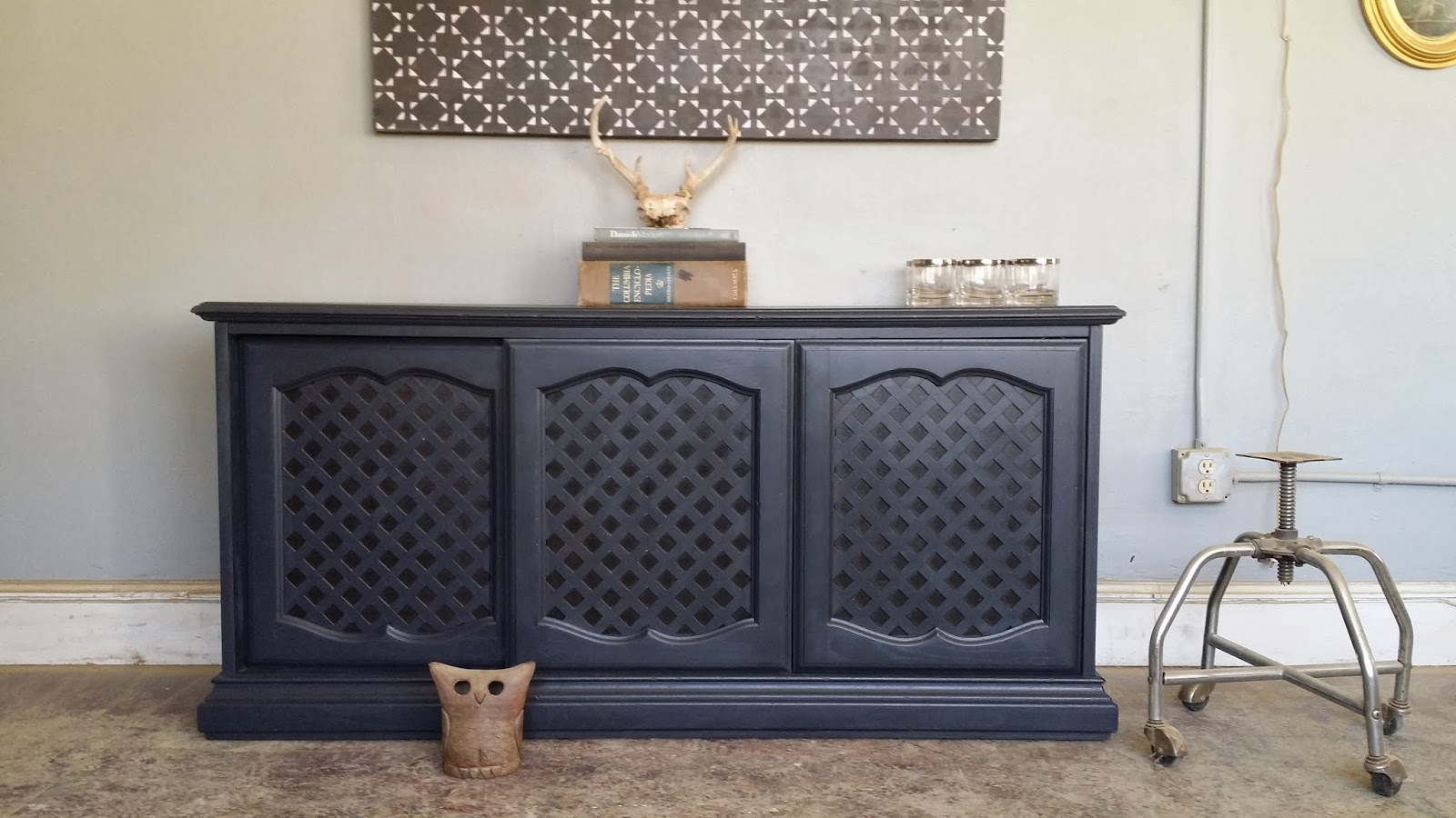 Vintage Sideboard Sliding Doors Vintage Ground Vintage Charcoal Gray Buffet Credenza