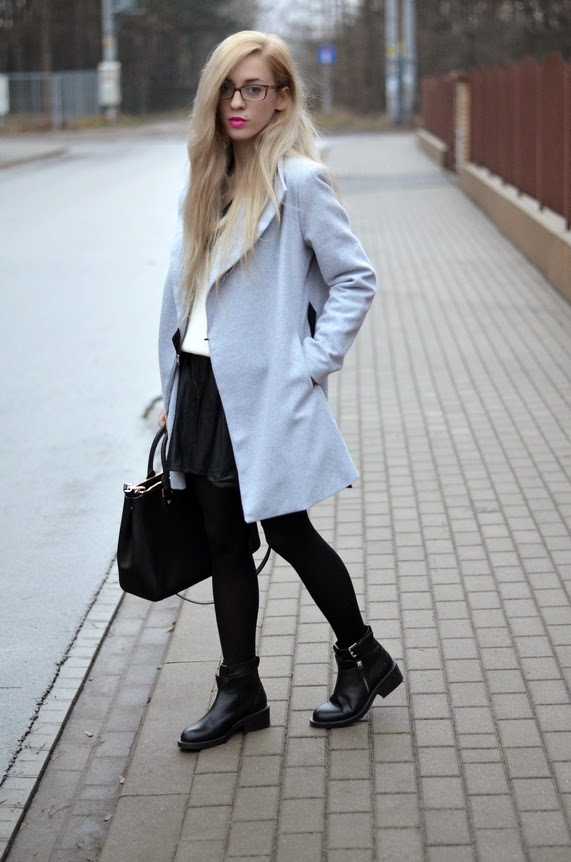 GRAY COAT, V-NECK SWEATER, MICHAEL KORS BAG & WATCH