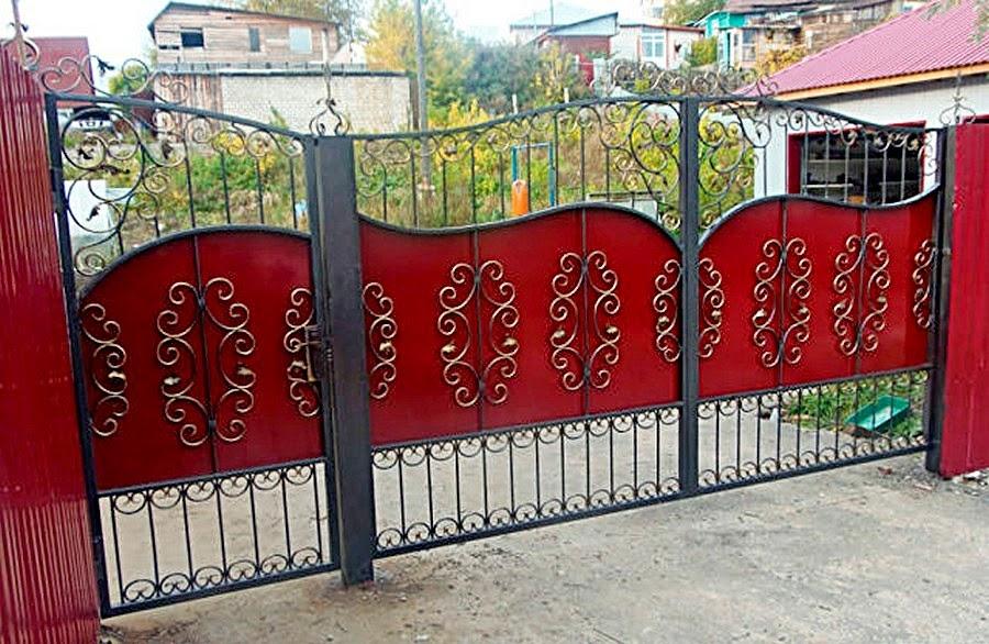 Ворота металлические распашные с калиткой цена