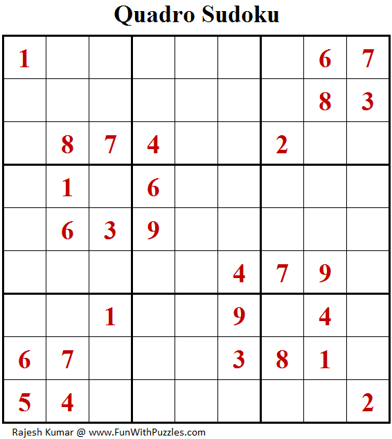 Quadro Sudoku (Fun With Sudoku #165)