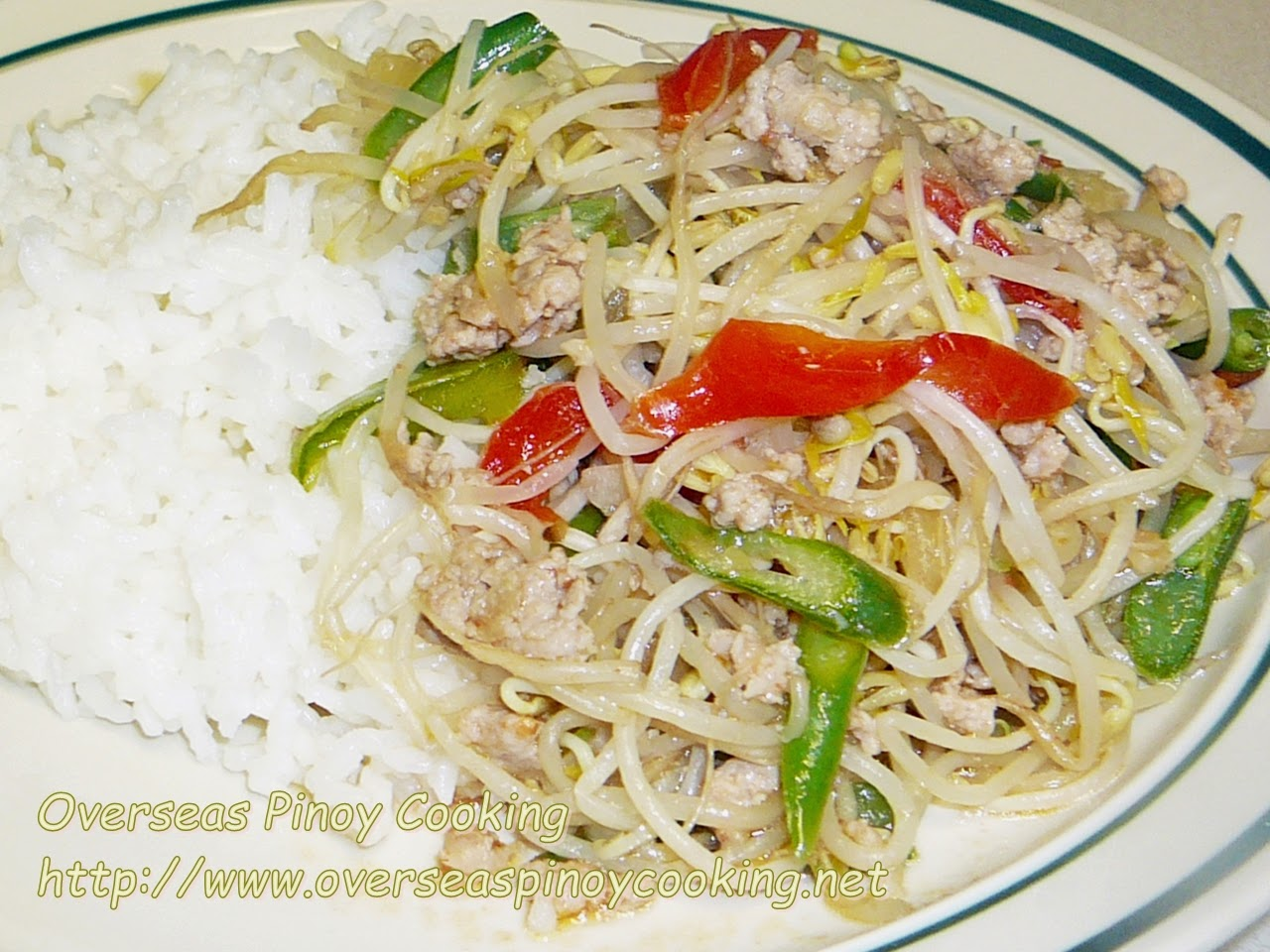 Ginisang Togue with Pork Giniling Rice