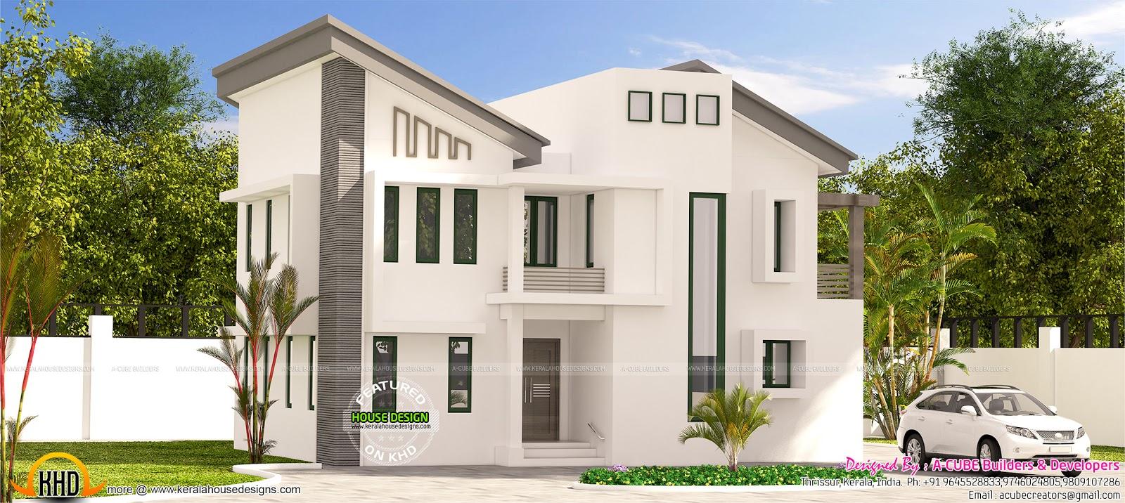 2100 sq-ft slanting roof modern home - Kerala home design ...