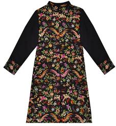 Black Parsi Gara Hand Embroidered Pure Silk Jacket