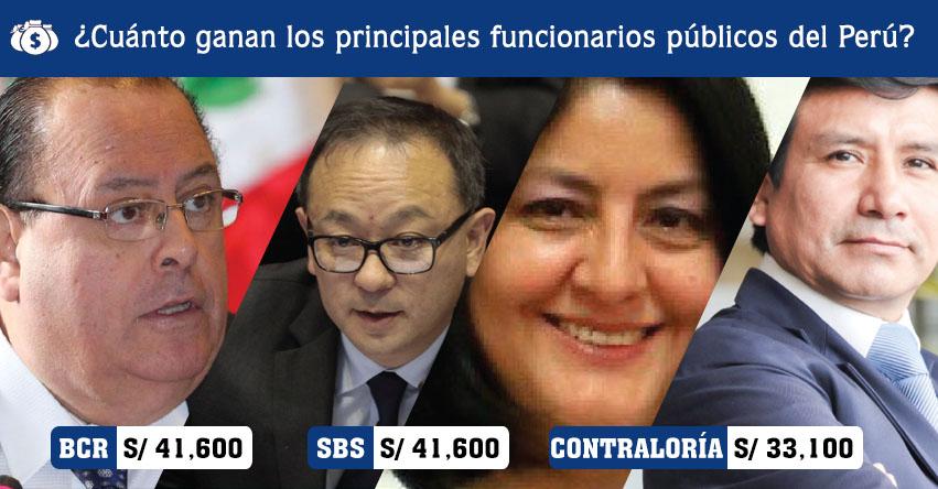 Sepa cuánto ganan los principales funcionarios públicos del Perú