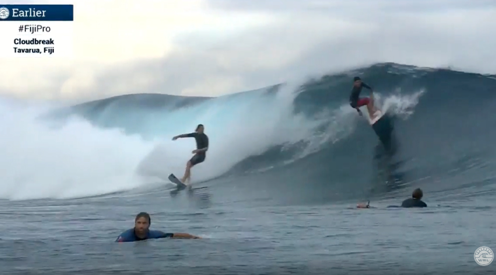 Gabriel Medina drops in on Jordy Smith at Cloudbreak 6 6 16