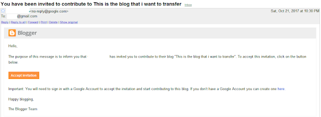 Email notification to be blog contributor