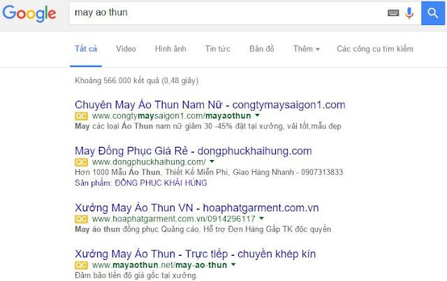 Vị trí quảng cáo thứ 4 trên top 4 Adwords Google