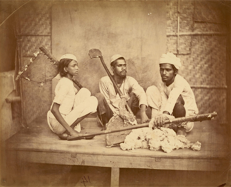 Dhuniya, Muslim Cotton Carders with their Instruments - Eastern Bengal 1860's
