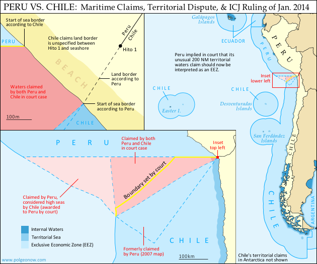 Map of Chile and Peru's territorial waters and exclusive economic zones (EEZ), plus the details of their territorial dispute at sea and disagreement of the land border. Shows the results of the Jan. 27, 2014 ruling by the International Court of Justice (ICJ) settling the dispute.