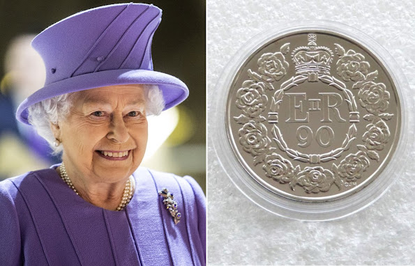 Royal Mint revealed the coin they have minted to mark Queen Elizabeth's 90th birthday. newmyroyals, new my royals, new myroyals, diamond earrings, diamond tiara, british diamond, bracelet, Jewellery, Necklaces, diamond bracelets, earrings