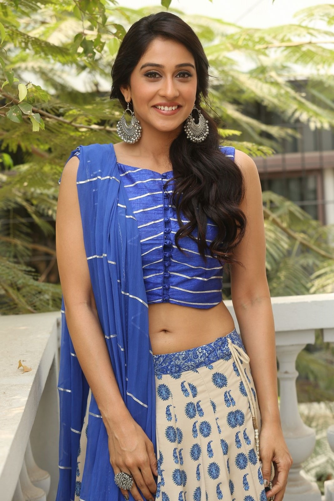 Regina Cassandra Navel Show Photos In Blue Dress