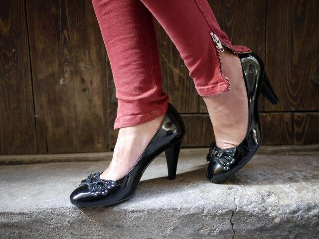 zapato salon charol negro