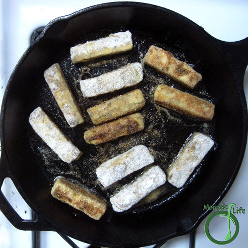 Morsels of Life - BBQ Tofu Sticks Step 6 - Pan fry (or bake at 350F) until each side crispy.