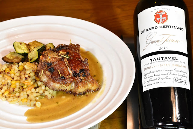 Gérard Bertrand Grand Terroir Tautavel Grenache-Syrah-Carignan with Saucy Lamb Loin Chops.