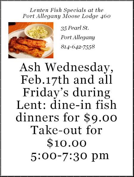 3-5 Port Allegany Moose Fish Fry Dinner