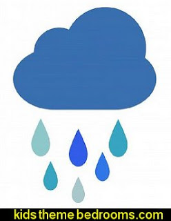 cloud raindrops wall decal stickers rain theme bedrooms