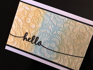 Stencilled Hello Card with Painted Texture Paste and Die Cut Greeting