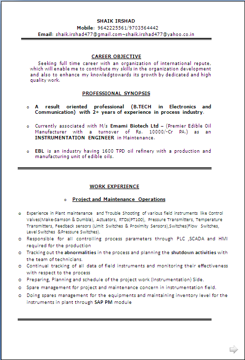 Sample Cv In Word Document B Tech In Electronics And