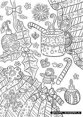 A coloring page about X-massy decorations / Värityskuva jouluisista koristeista