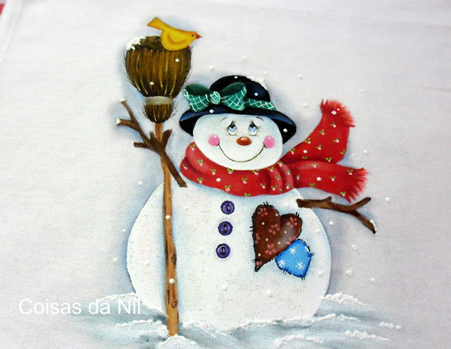 pintura em tecido boneco de neve de Natal