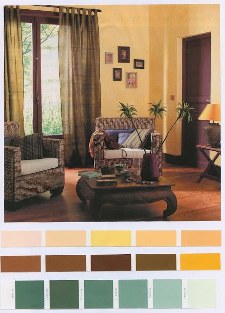 décoration, salon, exotique, bois, chaleureux, nuancier,