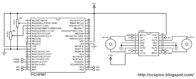 Two DC motors control using PIC16F887 and L293D circuit diagram