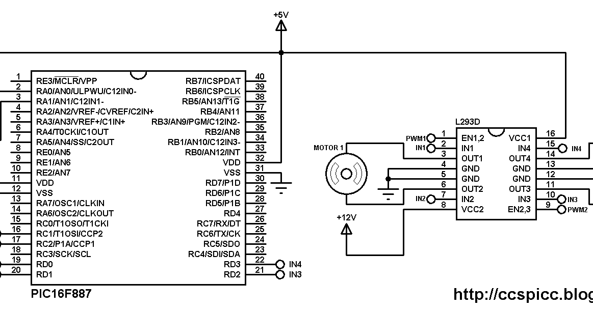 Two motors control using PIC16F887 and L293D