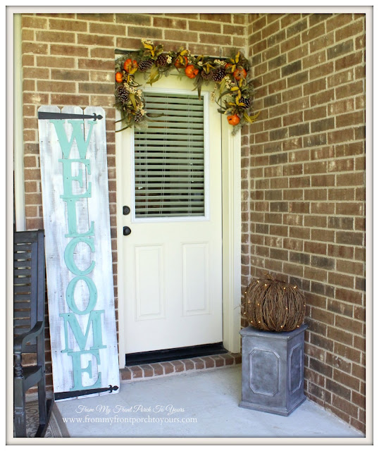 Fall Porch-Balsam Hill-Autumn Abundance Garland-DIY-Welcome Sign-From My Front Porch To Yours