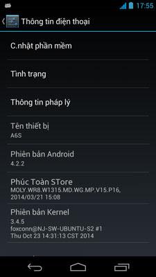 Rom stock và tiếng Việt Taiwan mobile A6S alt