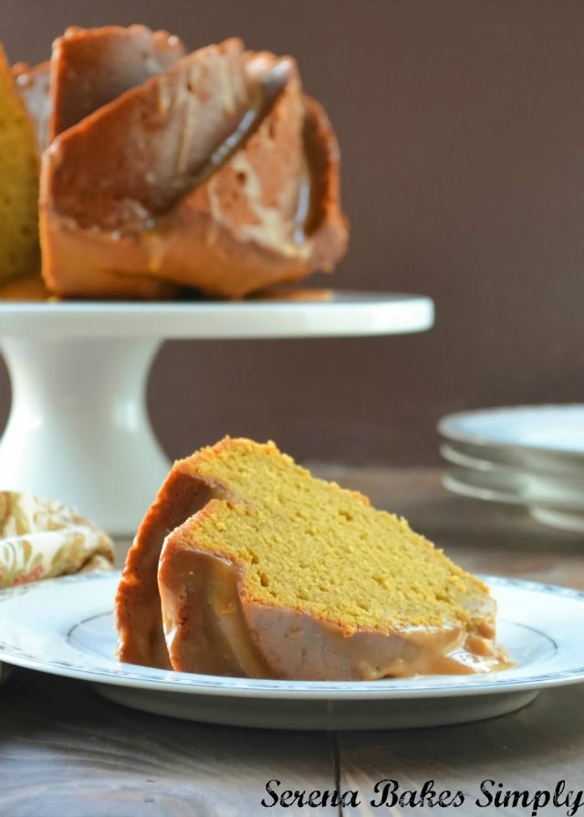 Pumpkin Spice Cake with Caramel Icing is a fall favorite bundt cake recipe from Serena Bakes Simply From Scratch.