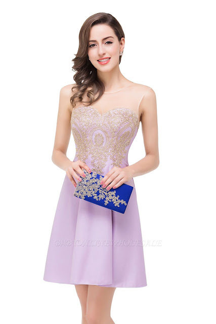A-line Sleeveless Chiffon Short Prom Dresses with Appliques