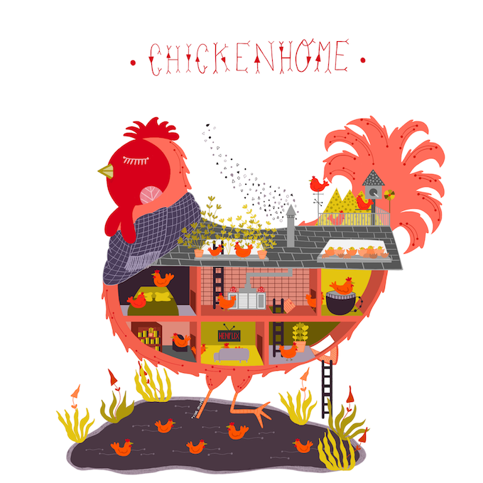 An illustrated hen that I dreamed