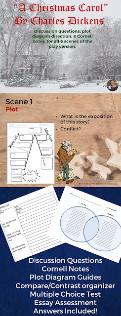 This resource for the play version contains:  ★ Discussion questions for all 6 scenes ★ Cornell notes for each scene (with answer key) ★ Plot diagram questions (guides) for each scene.  ★ A full size blank plot diagram ★ A compare/contrast graphic organizer so you can compare the play version to the video version. I suggest using the Muppets Christmas Carol. ★ A multiple choice & short answer test with answer key ★ An essay assessment option with outline and checklist