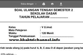 Soal UTS Agama Islam Kelas 5