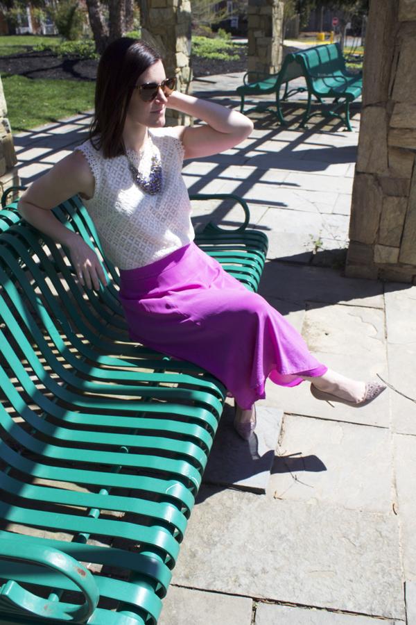 Purple midi skirt, purple skirt, J.Crew skirt, J.Crew purple midi skirt, lace top, Target lace top, faux leather jacket, spring outfit, flowy skirt
